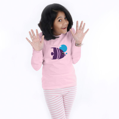 Pink Full Sleeve Girls Pyjama- Fish